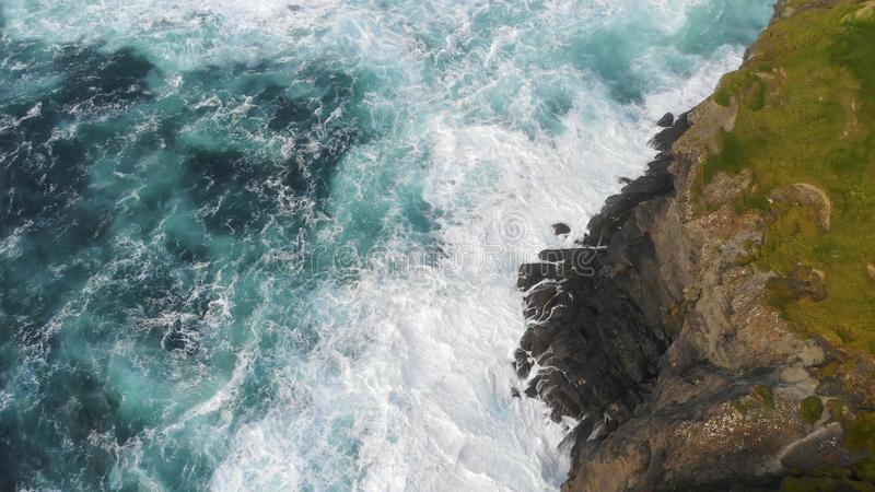 The awesome wild nature of the Irish west coast from above stock photography