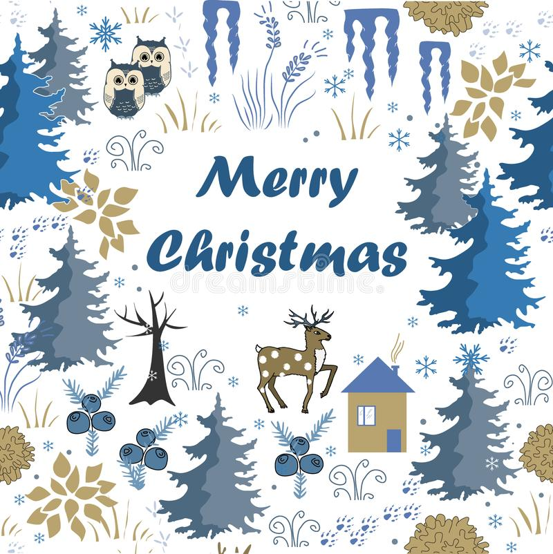 Download Awesome Winter Merry Christmas Card With House In Forest. Stylish  Brown And Blue Holiday
