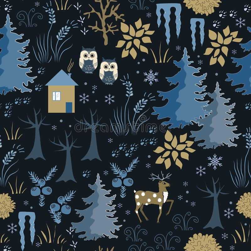 Awesome winter seamless pattern with house in night forest. Stylish back, brown and blue holiday background. Winter vector illustration