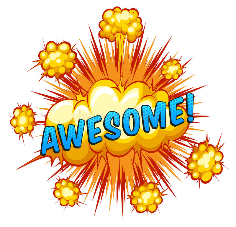 Awesome. Word awesome with cloud explosion background stock illustration