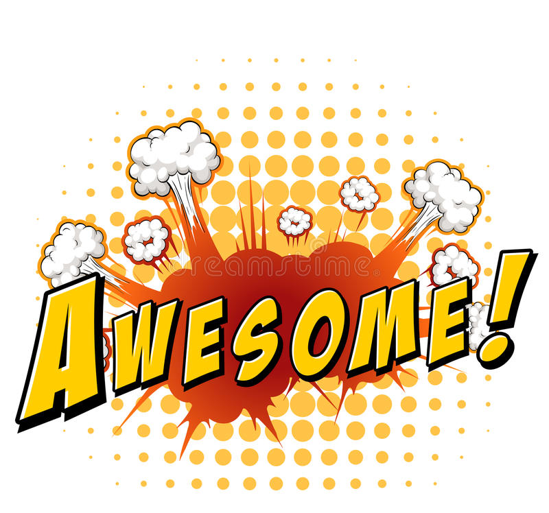 Awesome. Word awesome with explosion background vector illustration