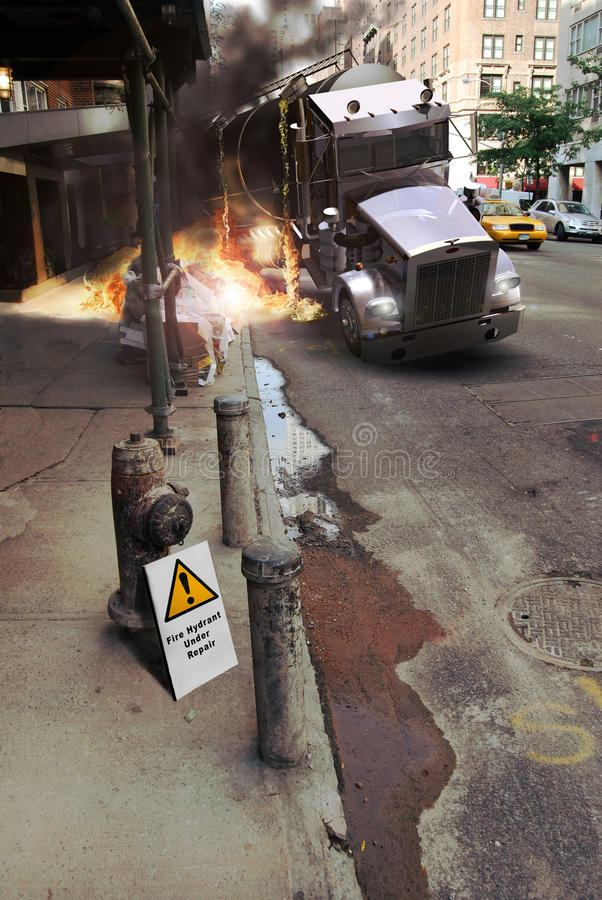 Awkward situation. A tank truck accident into the city causes a fire close to a building. The nearest fire hydrant is under repair, as the sign close to it royalty free illustration