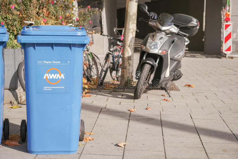 AWM paper collection bin. Paper collection bin of the munich AWM with copy space to the right stock photography