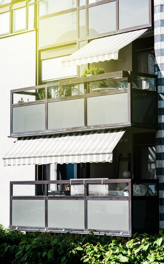 Awning balcony pation terracy apartment buildings stock images