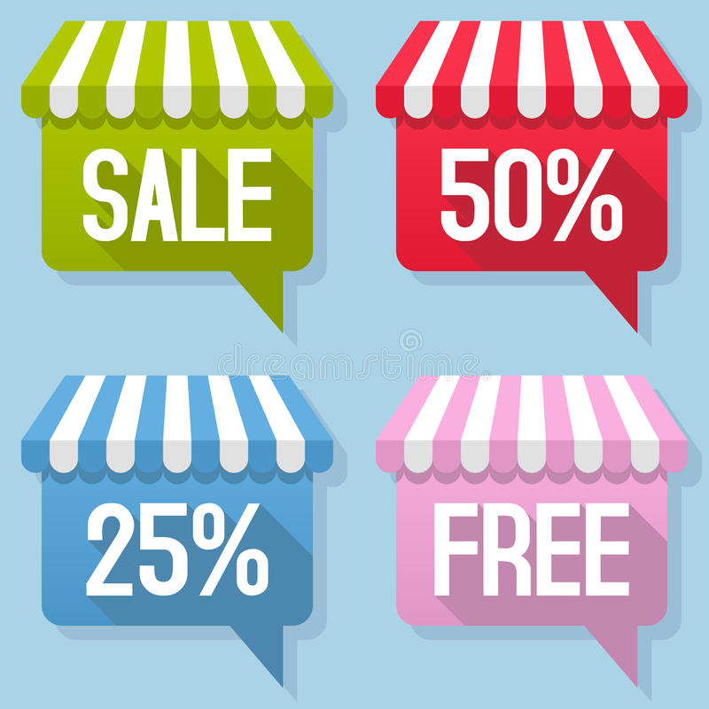 Awning Speech Bubble Sale Free Set royalty free illustration