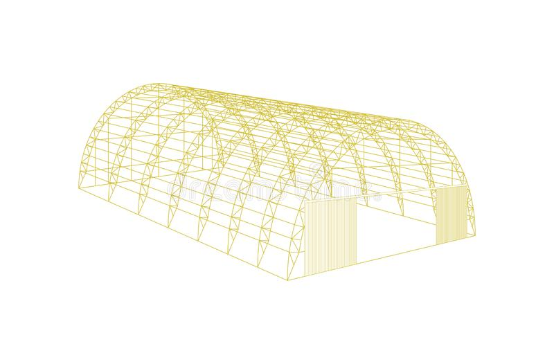Awning tarpaulin tent temporary warehouse exhibition tunnel hall aircraft hangar. Barn construction building wireframe royalty free illustration