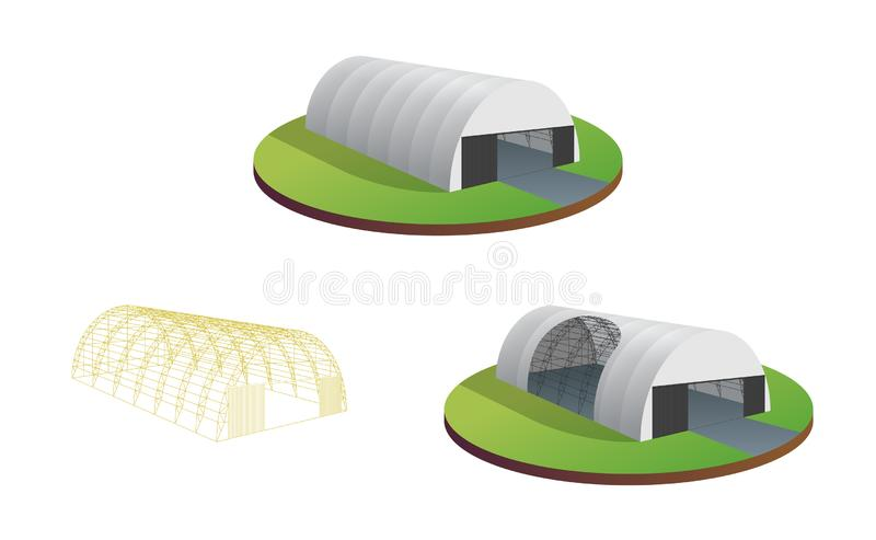 Awning tarpaulin tent temporary warehouse exhibition tunnel hall aircraft hangar. Barn construction building wireframe vector illustration