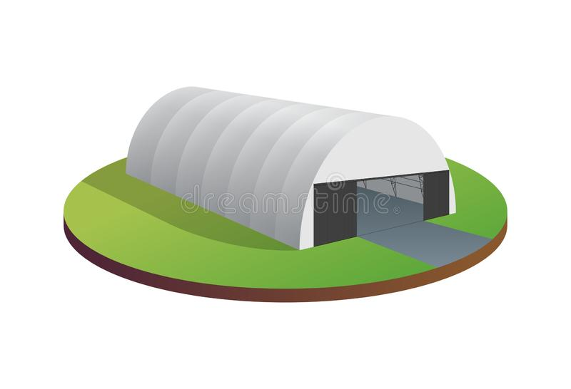 Awning tarpaulin tent temporary warehouse exhibition tunnel hall aircraft hangar. Barn construction building wireframe. Clear cut frame. Vector isometric 3d stock illustration