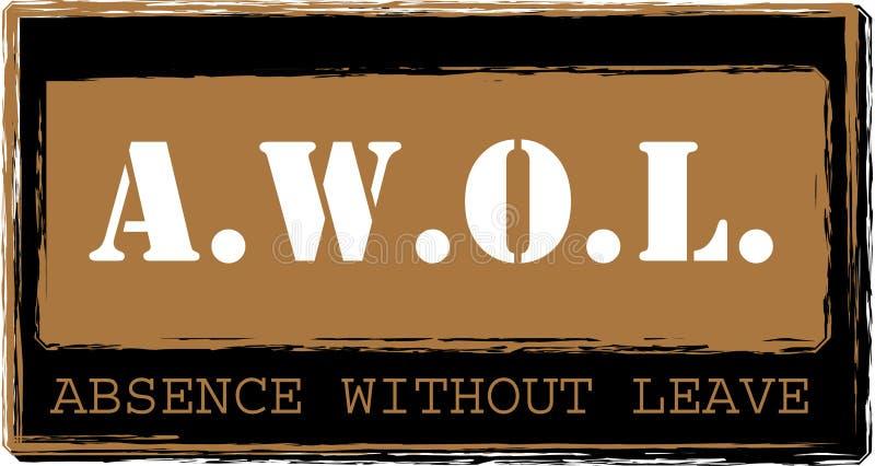 AWOL - Ausência sem vetor do selo da licença ilustração royalty free