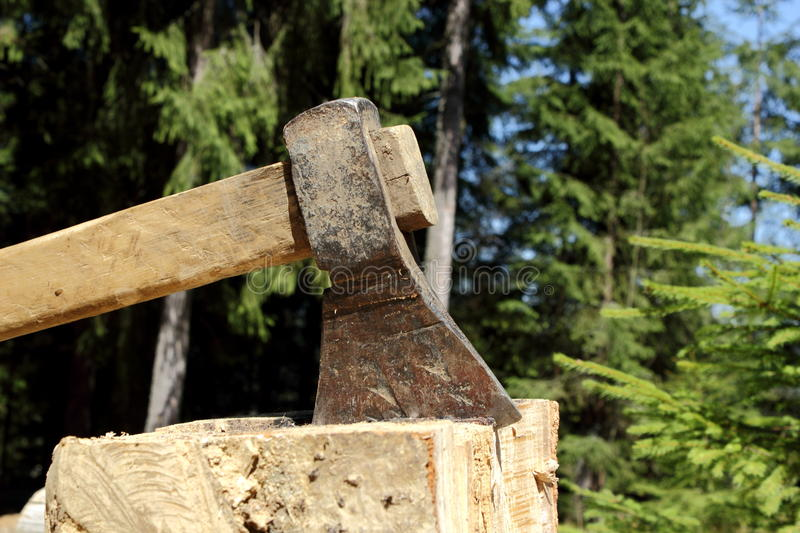Download Ax chopping a stub stock image. Image of outdoors, stub - 24595177