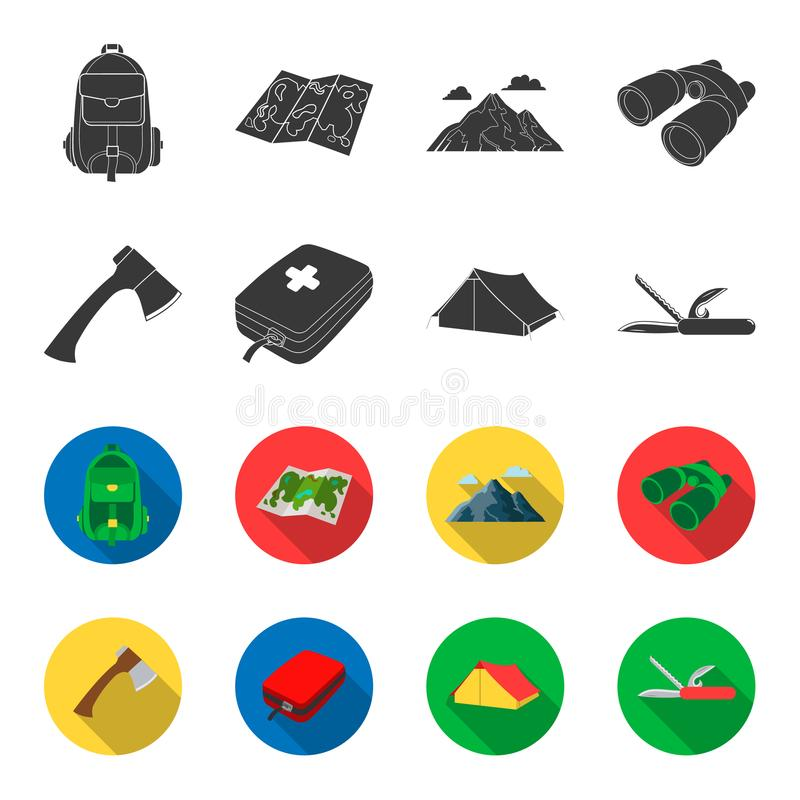Ax, first-aid kit, tourist tent, folding knife. Camping set collection icons in black,flet style vector symbol stock vector illustration