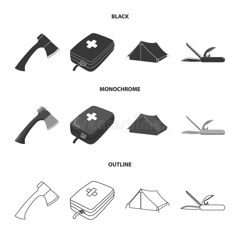 Ax, first-aid kit, tourist tent, folding knife. Camping set collection icons in black,monochrome,outline style vector stock illustration