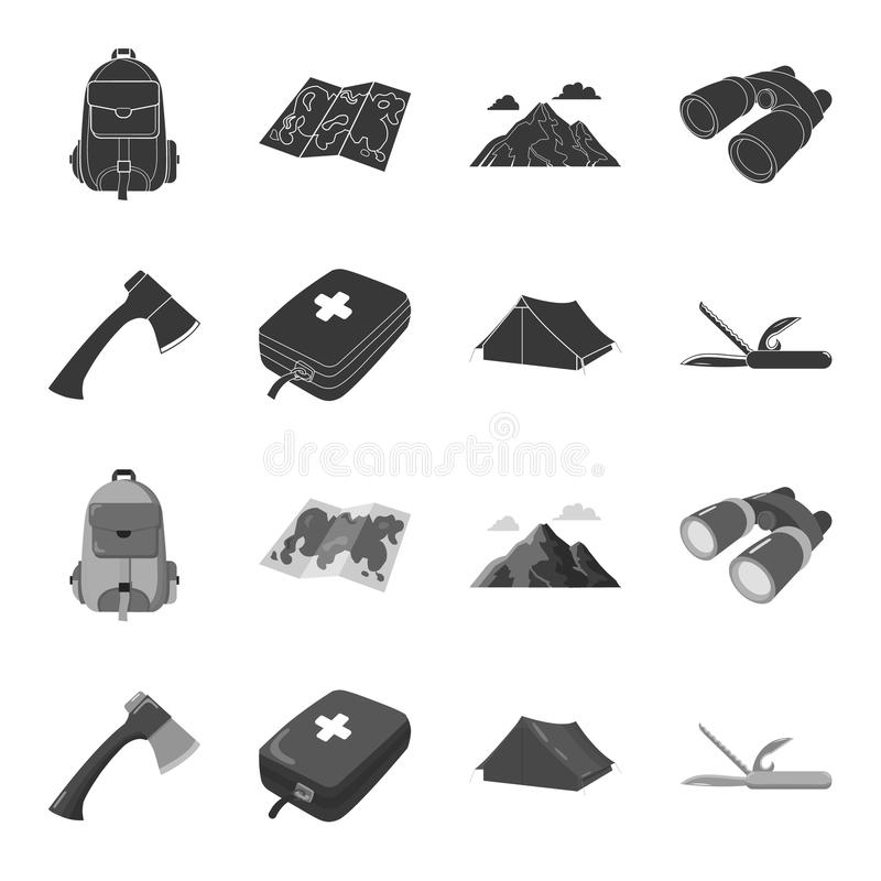 Ax, first-aid kit, tourist tent, folding knife. Camping set collection icons in black,monochrome style vector symbol stock illustration
