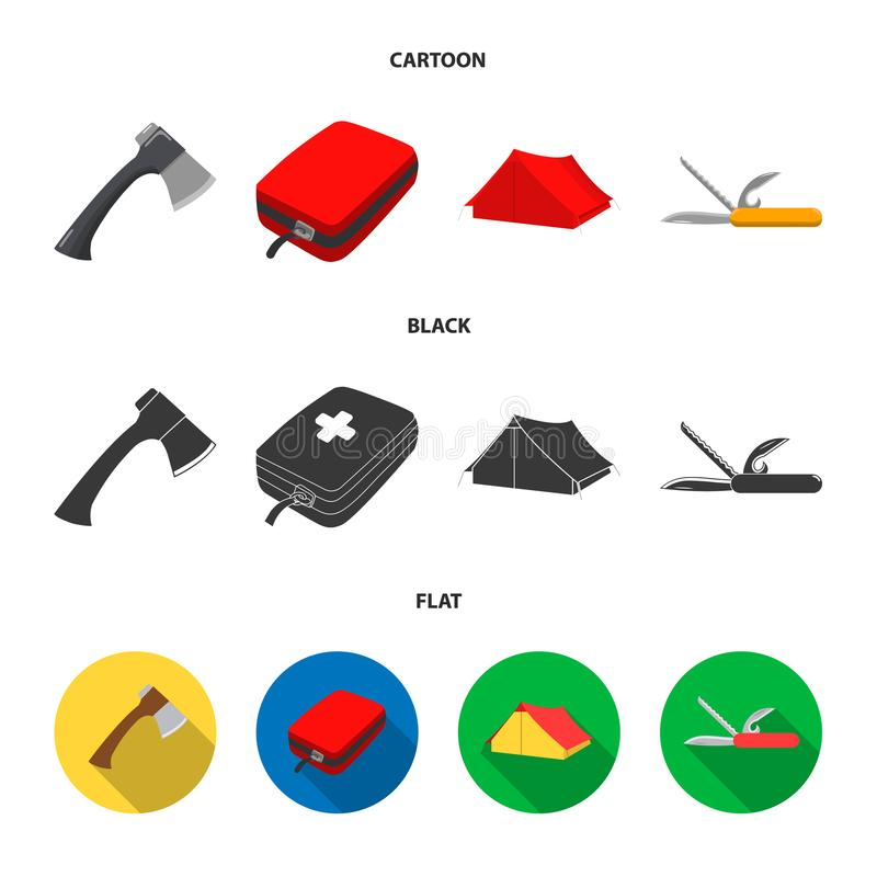 Ax, first-aid kit, tourist tent, folding knife. Camping set collection icons in cartoon,black,flat style vector symbol royalty free illustration