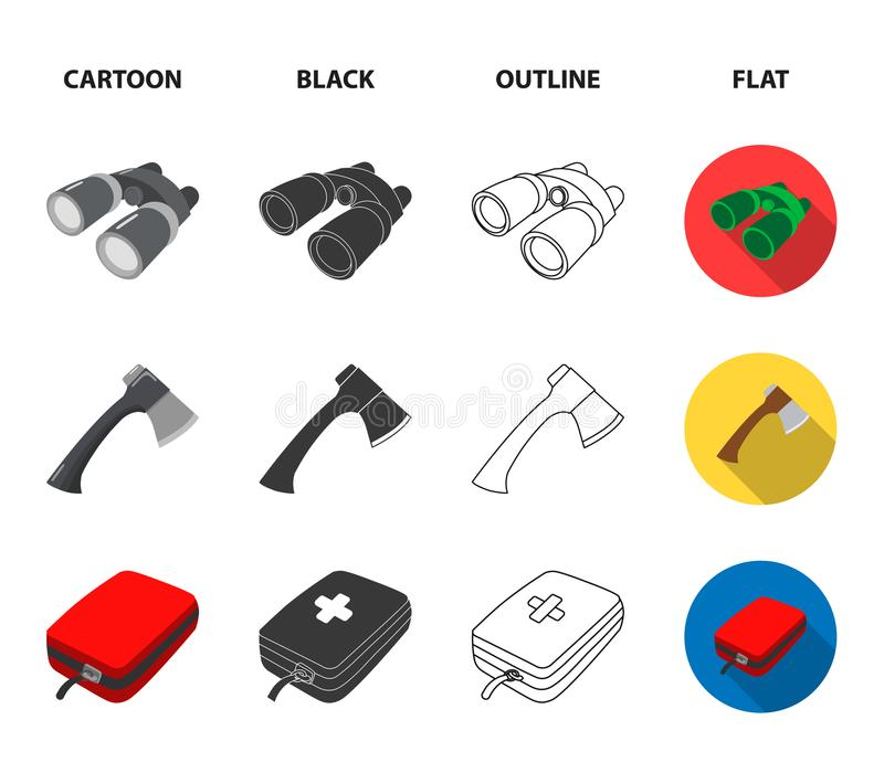 Ax, first-aid kit, tourist tent, folding knife. Camping set collection icons in cartoon,black,outline,flat style vector royalty free illustration