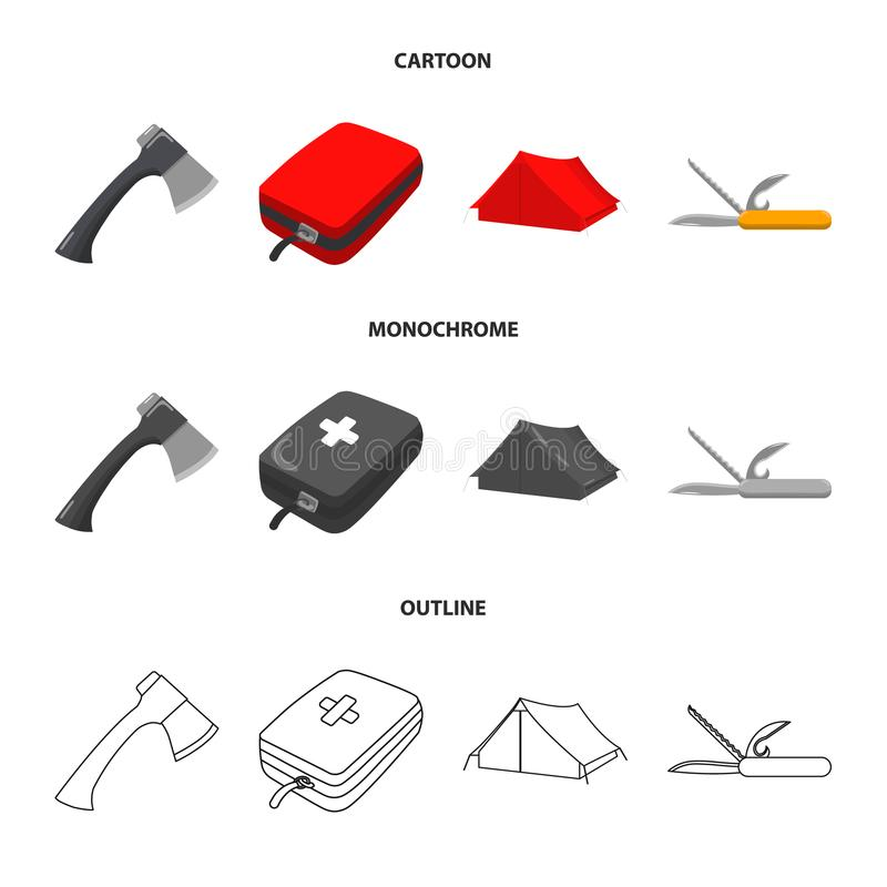 Ax, first-aid kit, tourist tent, folding knife. Camping set collection icons in cartoon,outline,monochrome style vector vector illustration