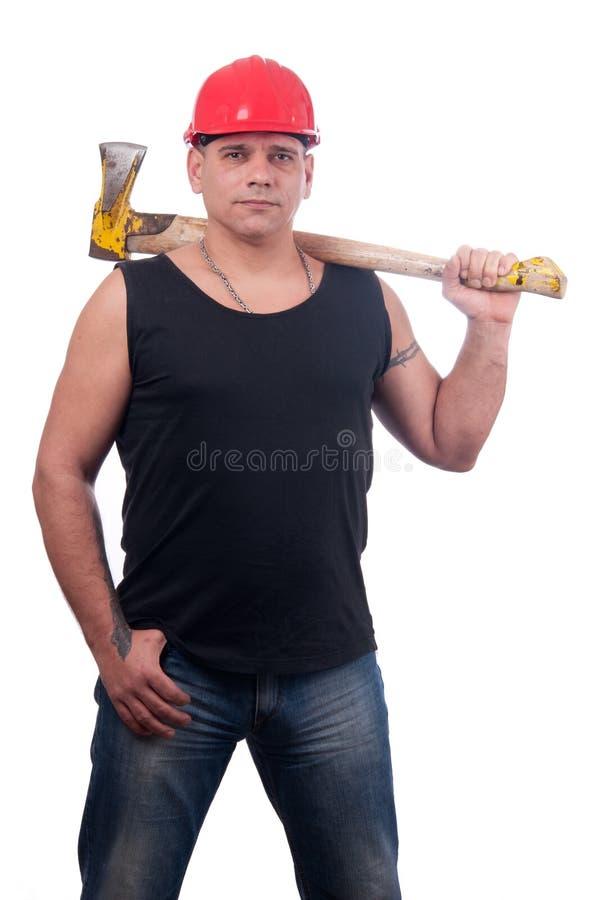 ax hans lumberjack som poserar den stolt skulderen arkivbild
