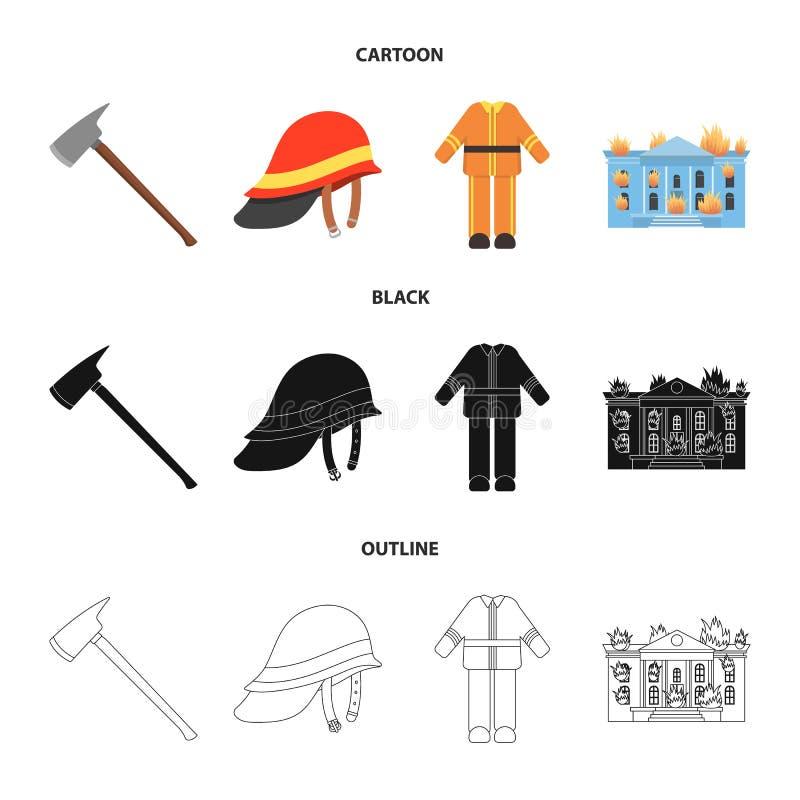 Ax, hełm, mundur, płonący budynek Pożarniczego departmentset ustalone inkasowe ikony w kreskówce, czerń, konturu stylowy wektor royalty ilustracja