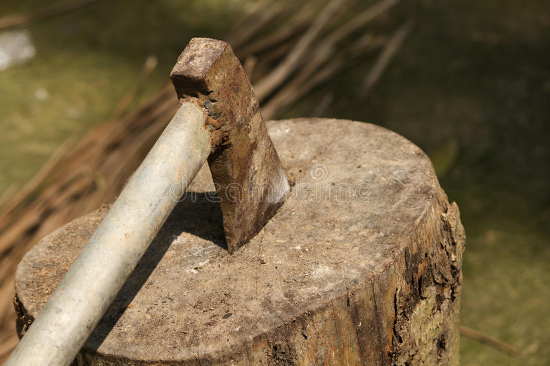 Ax hew. Metal ax hew on wood nature royalty free stock images