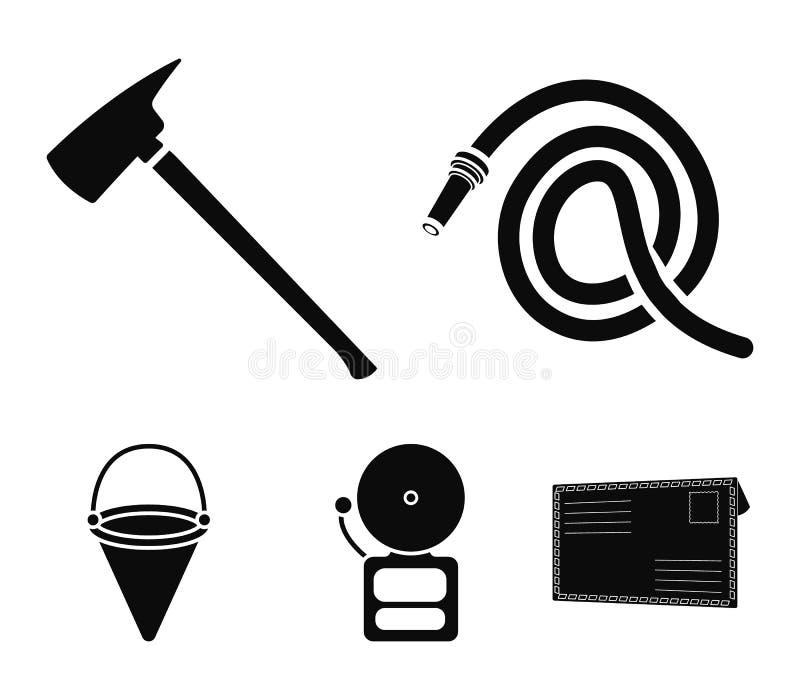 Ax palacz, wąż elastyczny, syrena, wiadro Pożarniczego działu ustalone inkasowe ikony w czerń stylu wektorowym symbolu zaopatrują royalty ilustracja