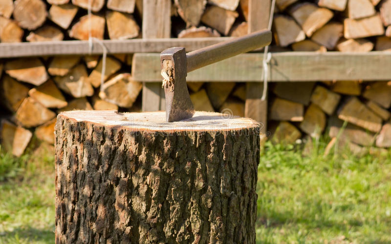 Download Ax on the trunk stock image. Image of cutting, steel - 26228727
