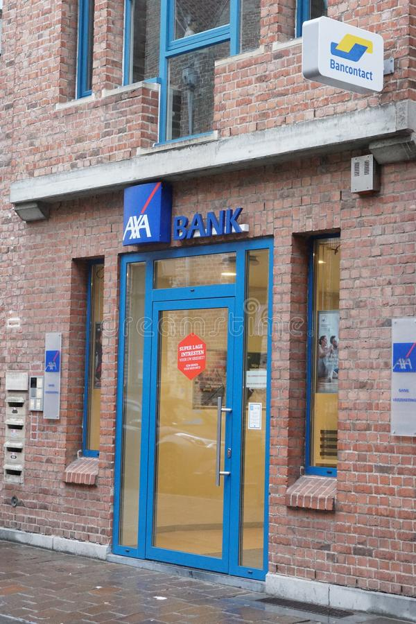AXA Bank Belgien branch. Bruges, Belgium - December 23, 2018: AXA Bank Belgien branch exterior. AXA Bank Belgium, located in Brussels, is AXA Group's royalty free stock photos
