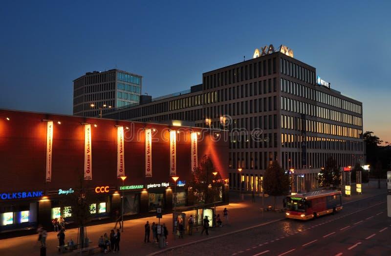 Axa building Brno. Axa insurance building and shopping centre of Vankovka, night city of Brno, Czech Republic stock images