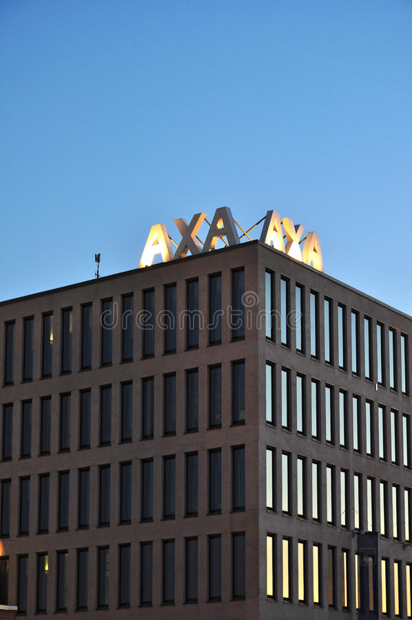 AXA insurance company. AXA - global french insurance company, modern building with logo in Brno at dask, Czech Republic. The picture was taken on 15. 9. 2011 stock photo