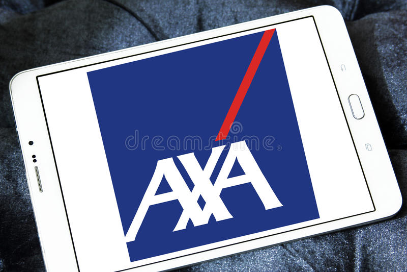 AXA insurance logo. Logo of AXA insurance company on samsung tablet royalty free stock photography