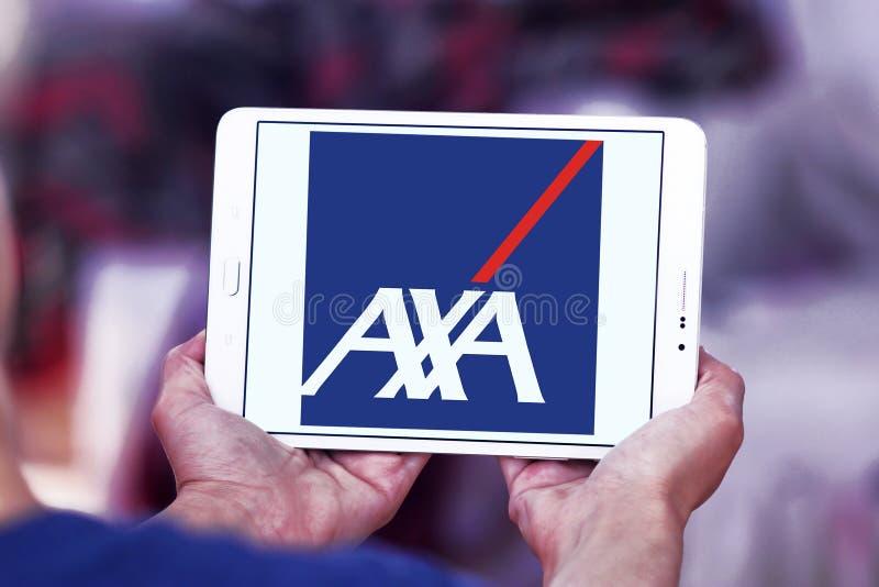 AXA insurance logo. Logo of AXA insurance company on samsung tablet stock photo