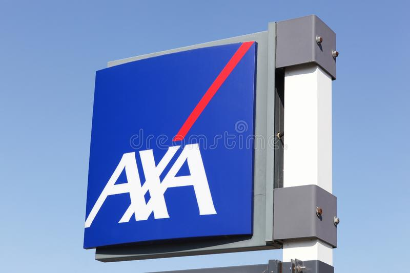 AXA insurance logo on a panel. Agde, France - July 3, 2018: AXA insurance logo on a panel. AXA is a French multinational insurance firm that engages in global stock photos