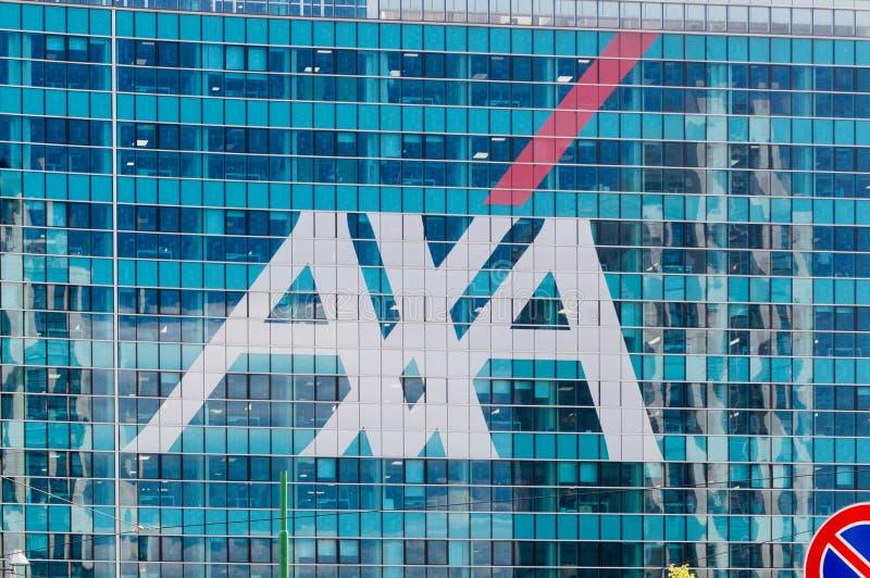 Axa Logo on modern building. Milan, Italy - May 29, 2018: Axa Logo on modern building stock images
