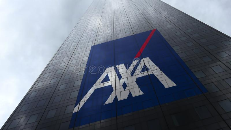 AXA logo on a skyscraper facade reflecting clouds. Editorial 3D rendering. AXA logo on a skyscraper facade reflecting clouds. Editorial 3D stock images