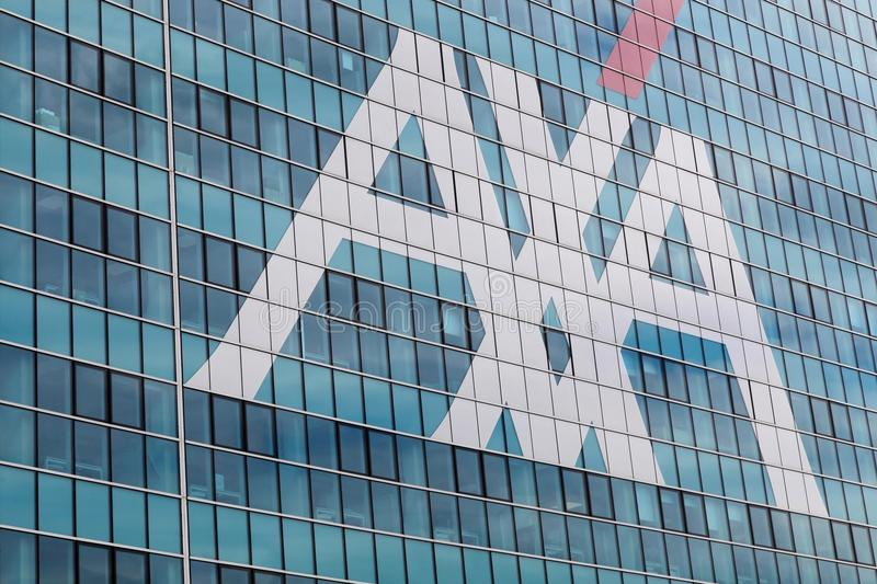 AXA office building in Milan. Milan, Italy - April 15, 2016: AXA office building in Milan. AXA is a French multinational insurance firm that engages in global stock photo