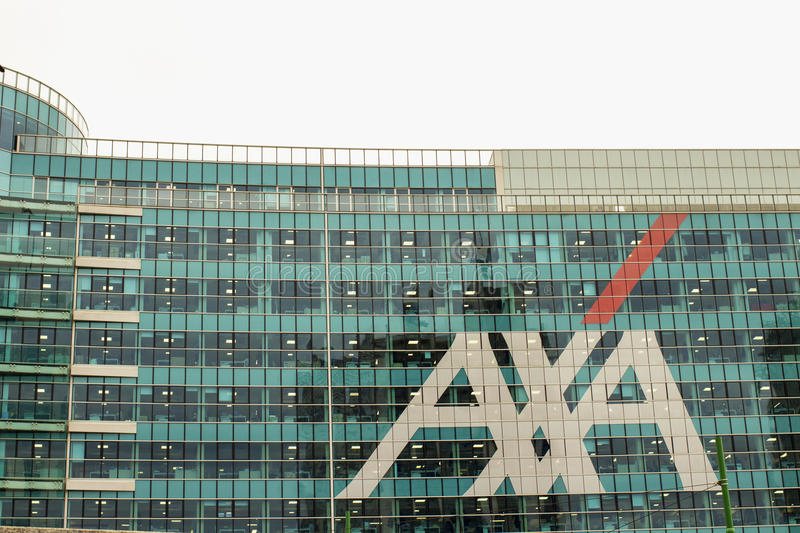 Axa Palace in Milan. MILAN, ITALY - MARCH 30, 2016: Axa Palace in Milan. Futuristic building was build in the Porta Nuova urban redevelopment project in 2014 stock photos