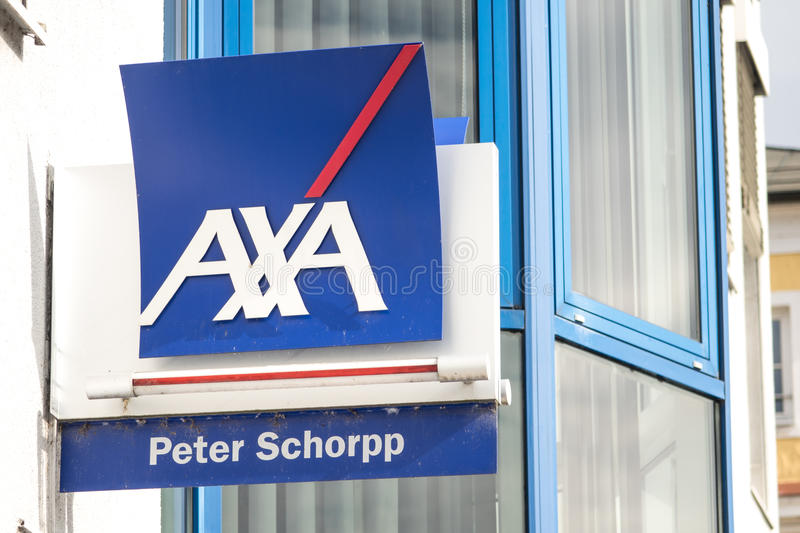 AXA. Sign above an office of the german AXA insurance with copy space to the right royalty free stock photo