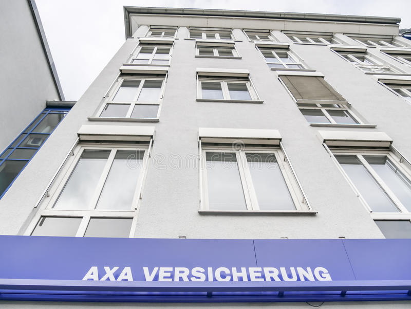 Axa. Sign of the german Axa insurance with copy space above it royalty free stock photo