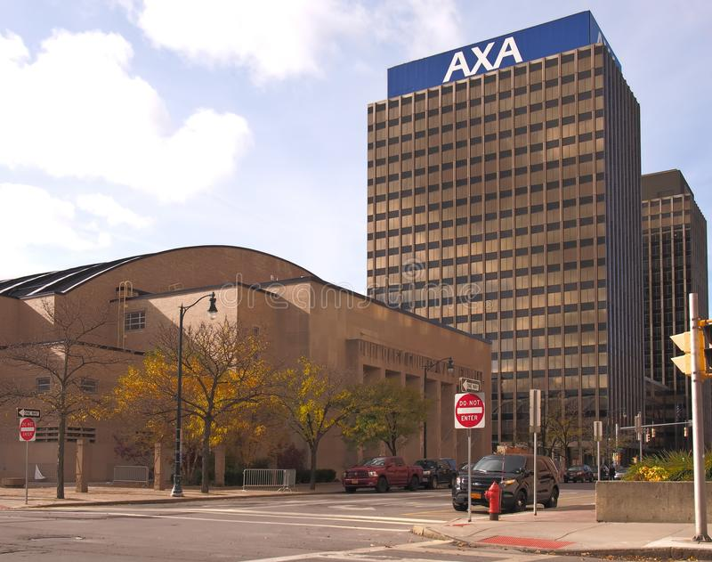 AXA Towers and War Memorial. Syracuse, New York, USA. November 4, 2018. View of South State Street in downtown Syracuse with the War Memorial at Oncenter and The stock photo