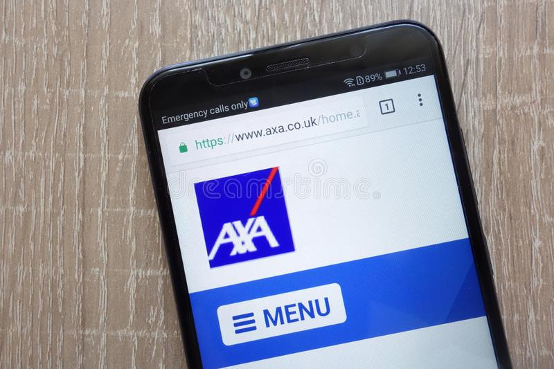 AXA website displayed on a modern smartphone. KONSKIE, POLAND - AUGUST 04, 2018: AXA website displayed on a modern smartphone royalty free stock photography