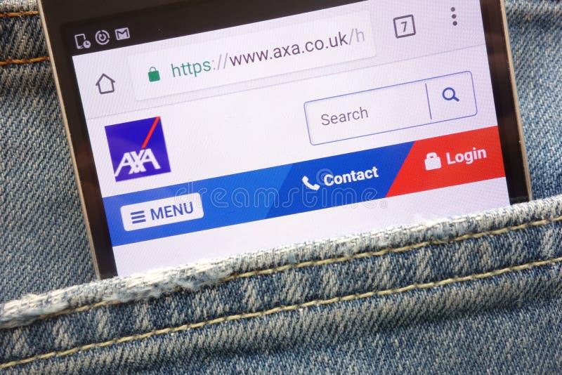 AXA website displayed on smartphone hidden in jeans pocket. KONSKIE, POLAND - MAY 19, 2018: AXA website displayed on smartphone hidden in jeans pocket stock photo