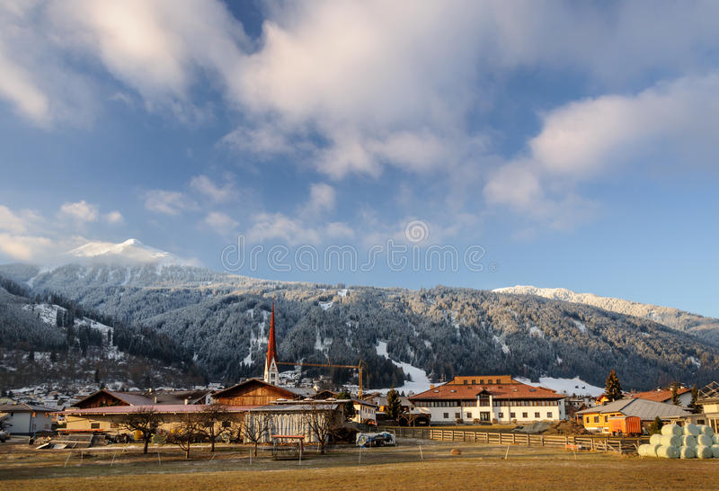Axams, Austria. Morning view over the town of Axams in Austria stock image