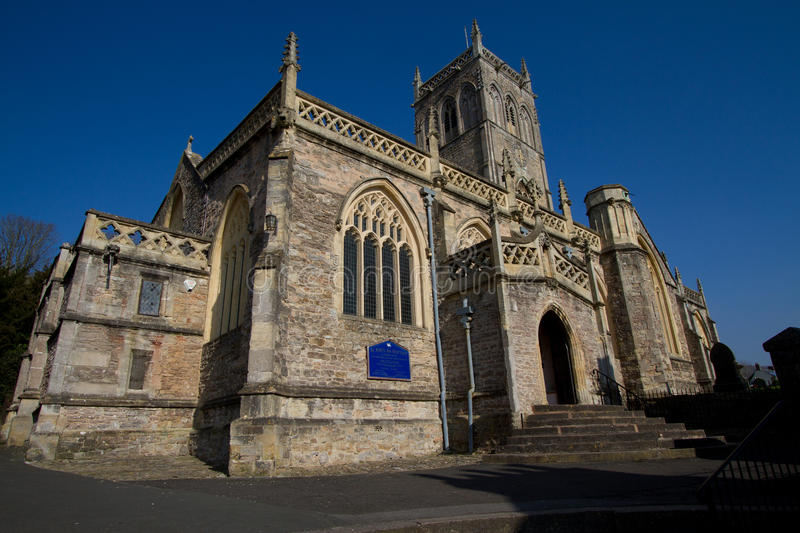 Axbridge Church Somerset England. Axbridge Church of St John town in Somerset, England, situated in the Sedgemoor district on the River Axe, near the southern royalty free stock photos