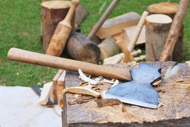 Axe on block stock images