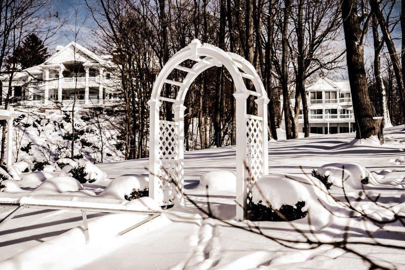 Axe de luxe couvert neigeux stup?fiant et belles maisons blanches ch?res le Lac L?man, WI, Etats-Unis 01/27/2019 de vinyle photographie stock