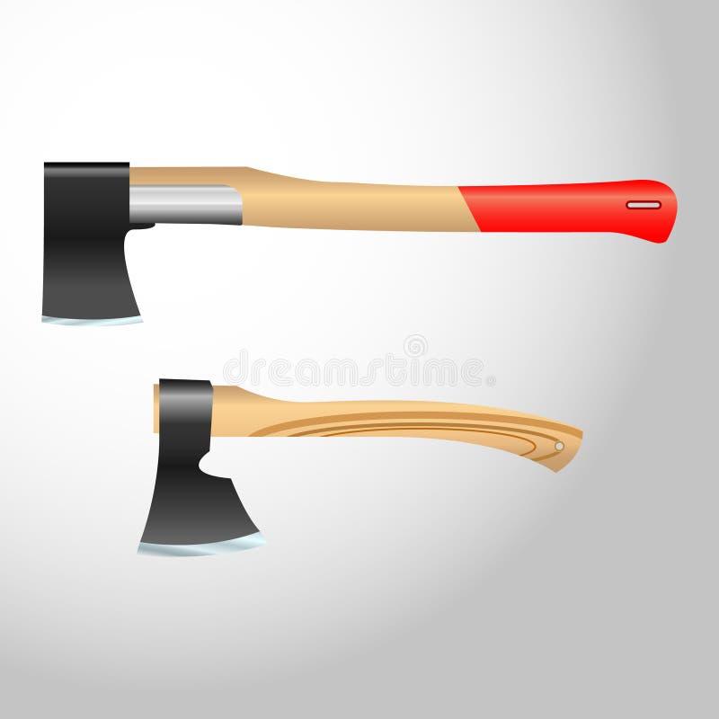 Axe, hatchet. Realistic vector axe, hatchet with wooden handle royalty free illustration
