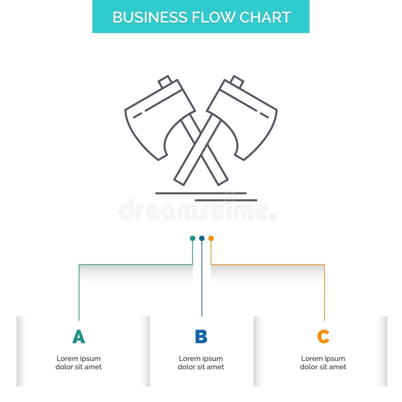 Axe, hatchet, tool, cutter, viking Business Flow Chart Design with 3 Steps. Line Icon For Presentation Background Template Place. For text. Vector EPS10 vector illustration