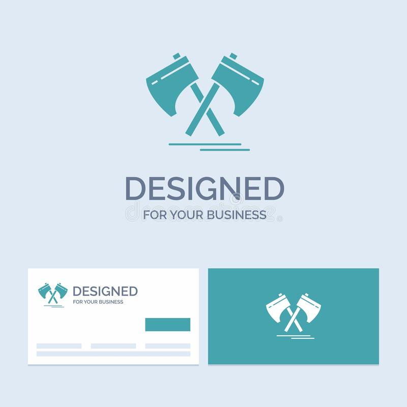 Axe, hatchet, tool, cutter, viking Business Logo Glyph Icon Symbol for your business. Turquoise Business Cards with Brand logo. Template.. Vector EPS10 Abstract vector illustration