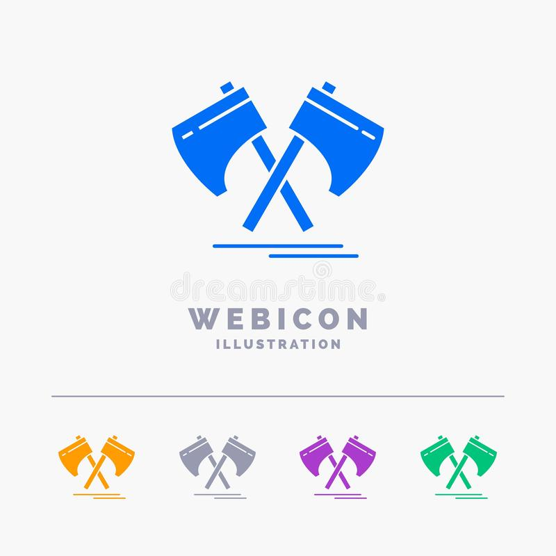 Axe, hatchet, tool, cutter, viking 5 Color Glyph Web Icon Template isolated on white. Vector illustration. Vector EPS10 Abstract Template background vector illustration