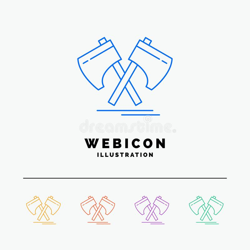 Axe, hatchet, tool, cutter, viking 5 Color Line Web Icon Template isolated on white. Vector illustration stock illustration