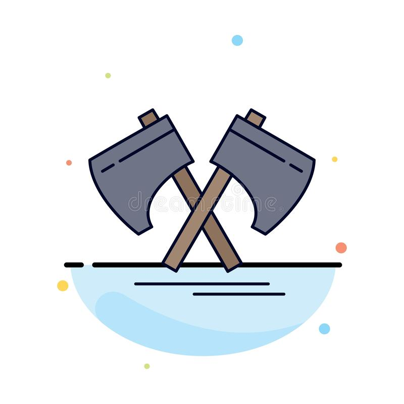 Axe, hatchet, tool, cutter, viking Flat Color Icon Vector vector illustration